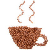 Coffee shape made of coffee beans Royalty Free Stock Image