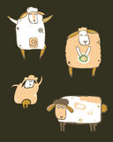 Coffee sheeps set. Cute sheeps characters. Design elements Stock Illustration