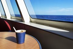 Coffee on the ship. At sunset Royalty Free Stock Image