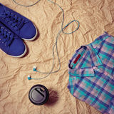 Coffee, shoes, headphones, clothes Royalty Free Stock Photos