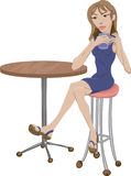 Coffee shop. A woman sitting sipping coffee royalty free illustration