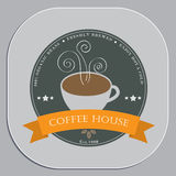 Coffee shop advertising design in coaster shape object Stock Photo