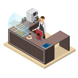 Coffee Shop or Bar Counter and Barista Isometric View. Vector Stock Photos