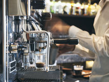 Coffee shop with Barista Restaurant cafe Background Stock Photo
