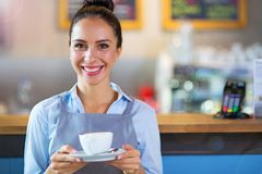 Coffee shop barista serving coffee Stock Images