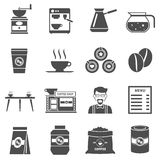 Coffee Shop Black Icons Set Stock Images