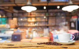 Coffee shop blur background with bokeh. Image Royalty Free Stock Photo