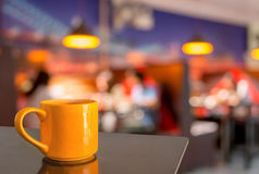 Coffee shop blur background with bokeh image.  Stock Image