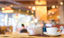 Coffee shop blur background with bokeh image. Stock Images