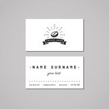 Coffee shop business card design concept. Coffee shop logo with coffee bean, rays and ribbon. Stock Images