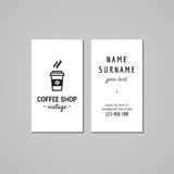 Coffee shop business card design concept. Coffee shop logo with take away coffee. Vintage, hipster and retro style. Stock Images