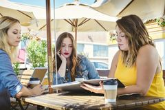 Three Young Women Have a Business Meeting at a Coffee Shop royalty free stock photos