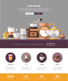 Coffee shop, cafe bakery website template with header and icons Stock Photo