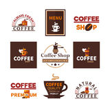 Coffee Shop Cafe Design Emblems Collection Stock Photography