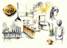 Coffee shop, cafe elements illustration Stock Image