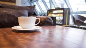 Coffee shop cafe Interior with coffee on table. Restaurant concept Stock Photos