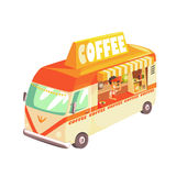 Coffee Shop Cafe In Mini Bus On Sunny Day. Cool Colorful Vector Illustration In Stylized Geometric Cartoon Design Royalty Free Stock Image
