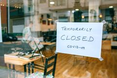 Free Coffee Shop Closed By Covid-19 Stock Photo - 192150220