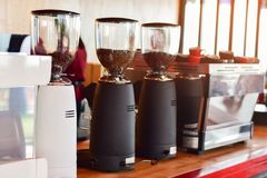 Coffee shop and coffee machine of morning stock photos