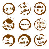 Coffee shop collection of round watercolor stains. Stock Photography