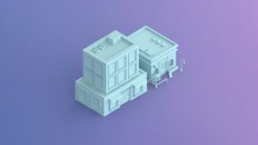 A coffee shop and a commercial building isometric Stock Image