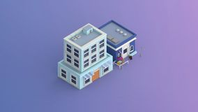 A coffee shop and a commercial building isometric Royalty Free Stock Photo