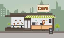 Coffee shop concept and create character. Royalty Free Stock Images