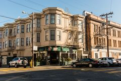 A coffee shop on a corner of Lombard Street in San Francisco, California, Spain. royalty free stock images