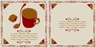 Coffee shop cover woodcut Royalty Free Stock Photography