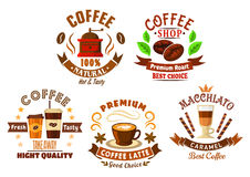 Coffee shop design elements in cartoon style Royalty Free Stock Photography