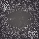 Coffee shop design frame. Stylized chalkboard coffee background. Stock Images