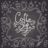 Coffee shop design frame. Stylized chalkboard coffee background. Stock Photos