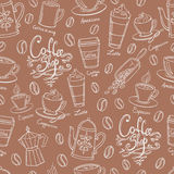 Coffee shop design seamless background. Stylized coffee pattern. Stock Photos