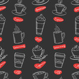 Coffee shop design seamless pattern. Royalty Free Stock Images