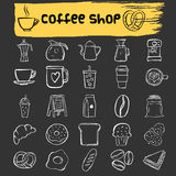 Coffee shop doodle icon set Royalty Free Stock Image
