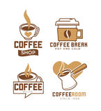 Coffee shop emblems with hot and cold beverages. In metal turk, ceramic and paper cups with heart isolated vector illustrations set on white background. Cafe Stock Image