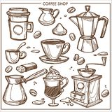 Coffee shop maker equipment tools vector sketch icons cup, beans for cafe. Coffee shop equipment tools sketch icons. Vector coffee maker or Turkish cezve, steam Royalty Free Stock Image
