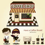 Coffee shop exterior.. Coffee shop exterior.Bird eye view.Barista with cup of coffee.Take-out coffee with brown cap and cup holder.Vector/Illustration Royalty Free Stock Photography