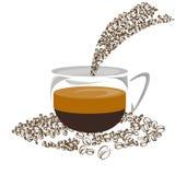 Coffee shop för böna för kaffe för kaffesymbolsuppsättning Arkivfoto