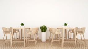 Coffee shop för restaurang 0r på den wood designen - tolkning 3D Royaltyfri Foto