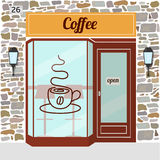 Coffee shop facade. Coffee shop building. Facade of stone. Coffee sign sticker on window. Vector illustration EPS10 Royalty Free Stock Image