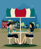 Coffee shop. Female friends are talking at a table in a coffee shop stock illustration
