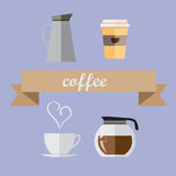 Coffee Shop flat icons Stock Images