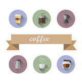 Coffee Shop flat icons Royalty Free Stock Photo