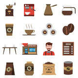 Coffee Shop Flat Icons Set. Classical coffee shop symbols with beans old style grinder and barmen flat icons collection abstract isolated illustration vector Stock Images