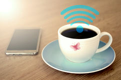 Coffee shop with free Wifi. Stock Images