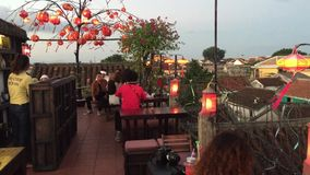 Coffee shop in Hoi An ancient town stock video