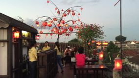 Coffee shop in Hoi An ancient town stock video footage