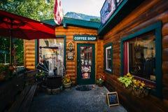 Coffee shop i lampglas vaggar, North Carolina arkivfoto
