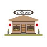 Coffee shop i plan stil Marknaden med ställer ut isolerat på vit bakgrund Arkivfoton